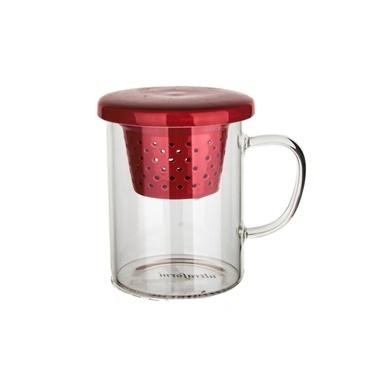 Ultraform Porselen Süzgeçli Kapaklı Düz Kupa Kırmızı Kırmızı